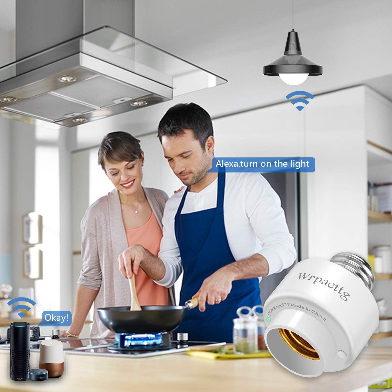 No se Requiere Hub Compatible con Alexa Temporizador Portal/ámparas Inteligente WiFi Adaptador de Casquillo E27 Inal/ámbrico 1PC APP Control Remoto