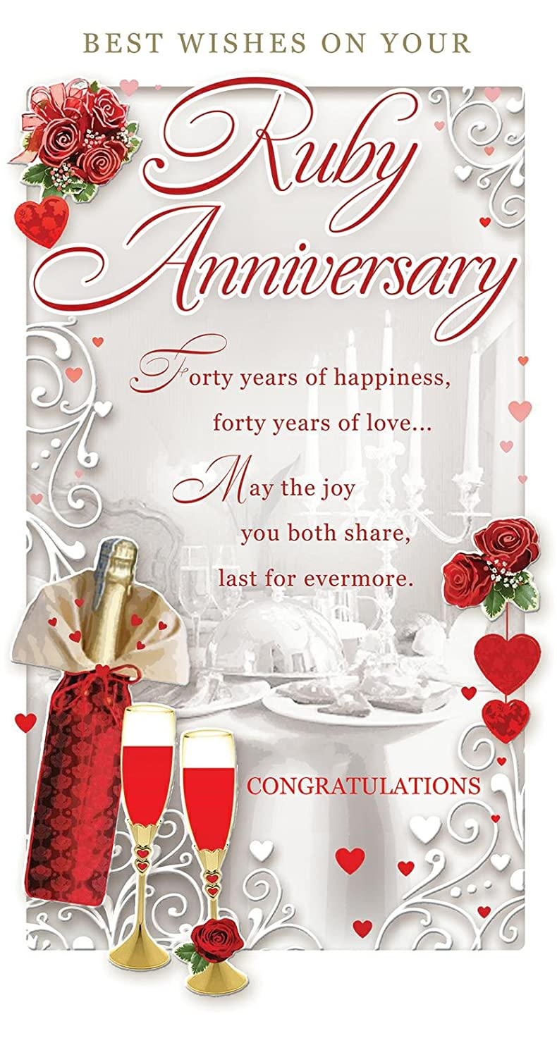 Ruby 40th Wedding Anniversary Card Champagne Table Red Roses 9