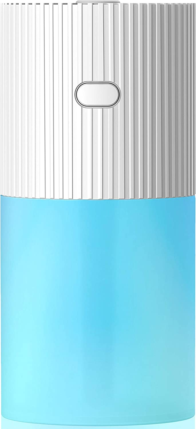 FiveSda Car Diffuser, Cool Mist Humidifier Portable Humidifiers for Bedroom Travel Baby, 300mL USB Auto Shut-Off 7 Colors LED Light for Vehicle Home Office Desk(White)