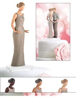 Amazon.com: Chic Interracial Wedding Cake Topper - Caucasian Bride ...