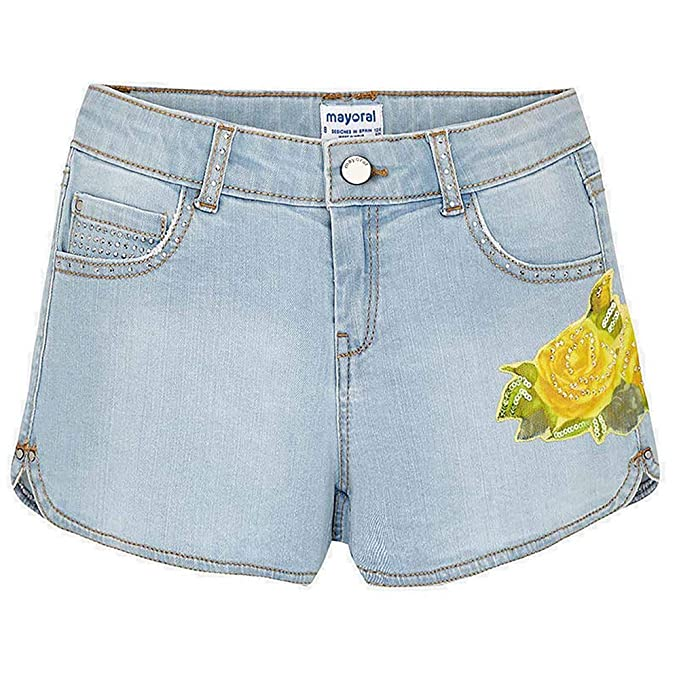 98d3699bf4dd Mayoral Short texano Fiore Ragazza 6202 Superbleac 12  Amazon.it   Abbigliamento