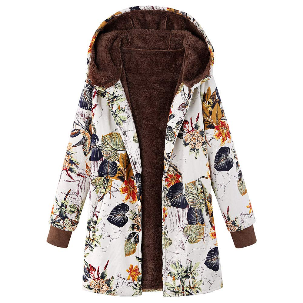 Opinionated Women Coat, Womens Vintage Winter Warm Outwear Coat Floral Thicken Hooded Pockets Coats Overcoat Orange by Opinionated
