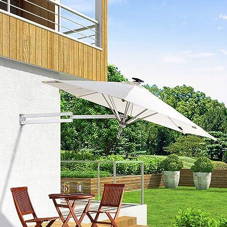Sombrilla de exterior Sombrilla de jardín - Montado en la pared Cantilever Led solar - Tela de poliéster, Plegable, Telescópica, Sombrilla de recreación al aire libre, Patio / Jardín / Terraza LDFZ: Amazon.es: Hogar