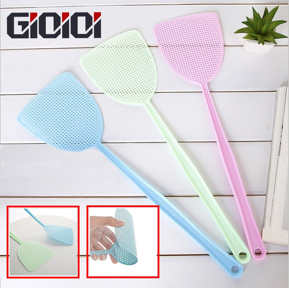 GIOIOI Fly Swatter Manual Swat Pest Control Prevent Flies Mosquito Durable Plastic Long Handle 3 Pack