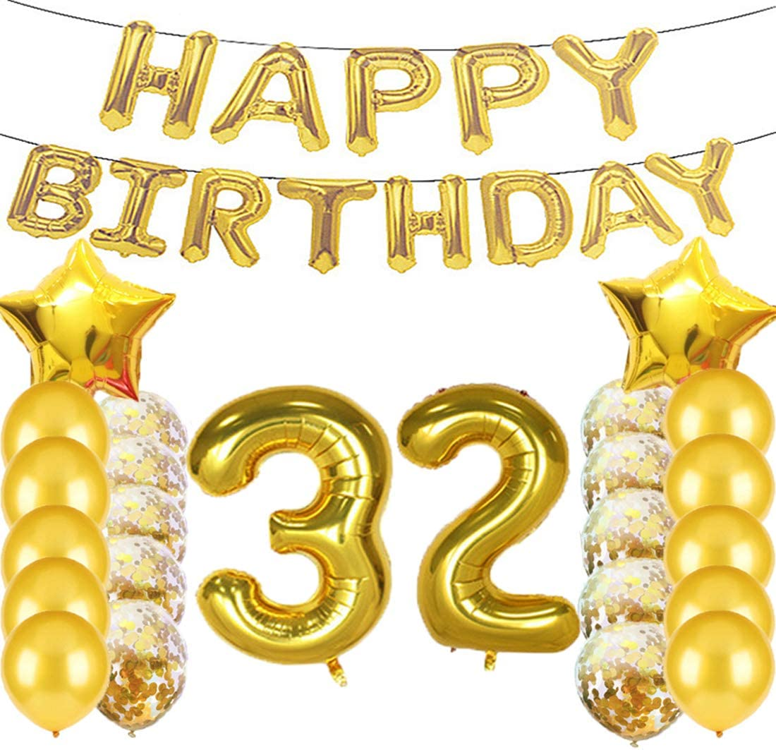 Sweet 32th Birthday Decorations Party Supplies,Gold Number 32 Balloons,32th Foil Mylar Balloons Latex Balloon Decoration,Great 32th Birthday Gifts for Girls,Women,Men,Photo Props