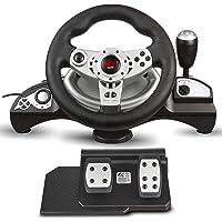NanoRS RS700 Gaming racestuur 270 ° stuurbereik versnellingspook gas- en rempedaaltrillingen 8 in 1 stuur Compatibel met…