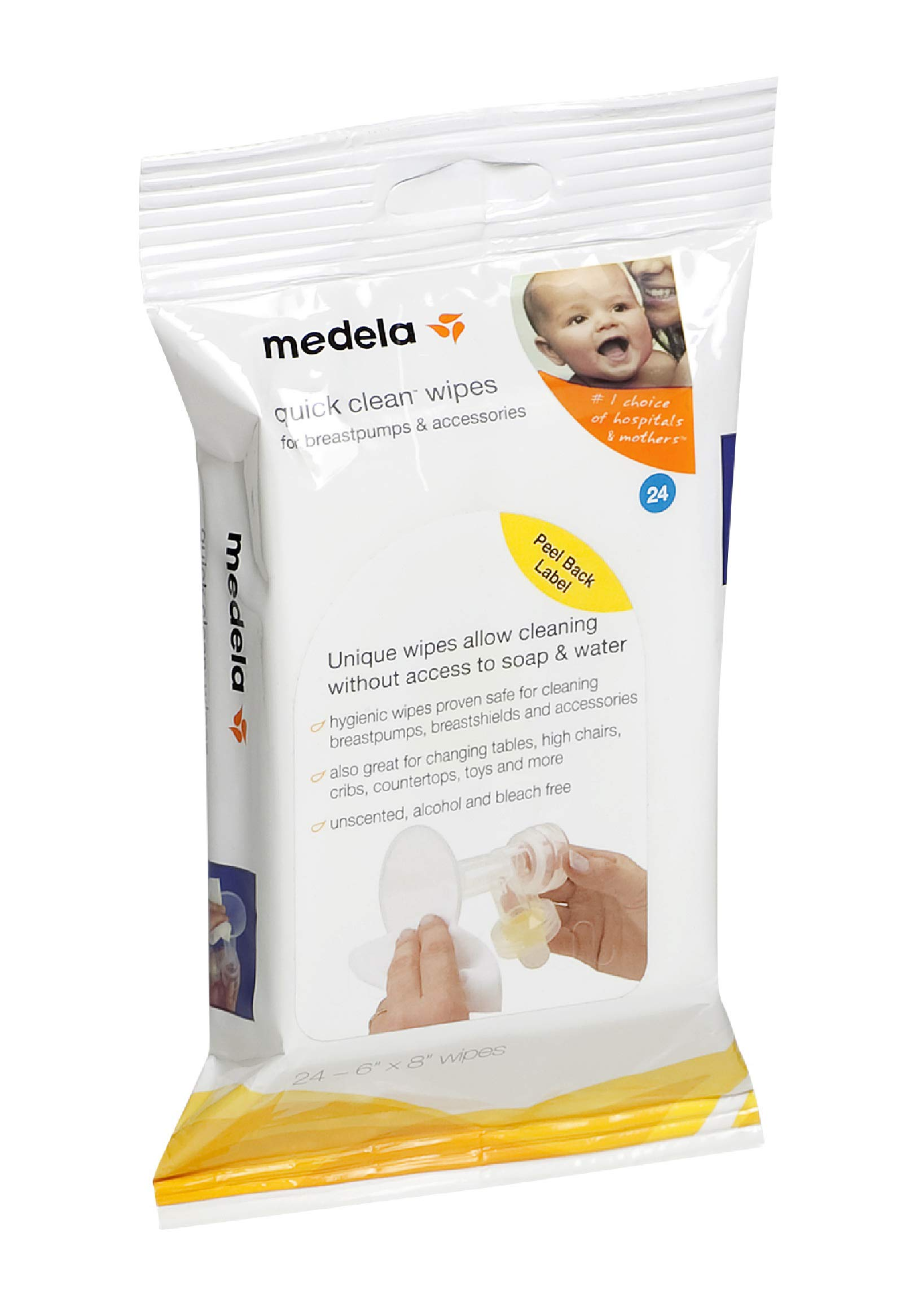 Medela Quick Clean Breast Pump and Accessory Wipes, 24 Count Resealable Pack, Convenient and Hygienic On the Go Cleaning for Tables, Countertops, Chairs, and More
