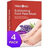 Treatonic Foot Peel Mask -4 Pairs- Exfoliating Peeling Away Calluses and Dead Skin Cells, For Cracked Heels, Dead Skin & Call