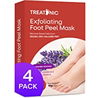 Treatonic Foot Peel Mask -4 Pairs- Exfoliating Peeling Away Calluses and Dead Skin Cells, For Cracked Heels, Dead Skin…