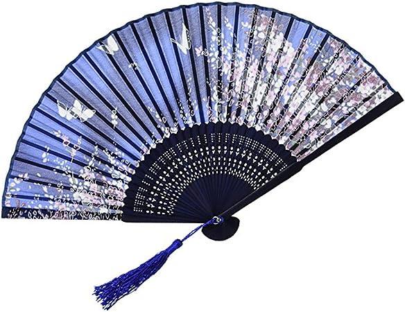 Chinese Hand Held Fan Bamboo Silk Butterfly /& Flower Folding Fan Wedding SM FG