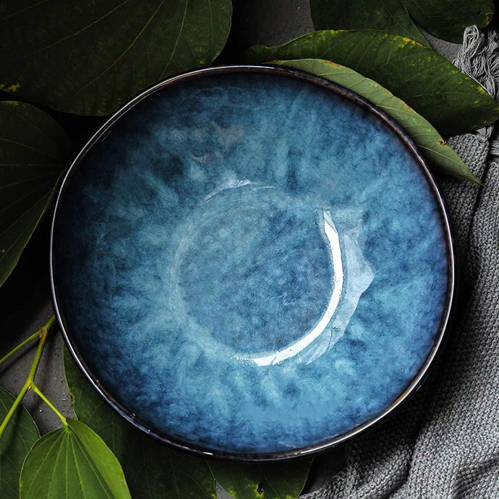 GX Schüssel Blaue Keramik Geschirr Kreative Stil Ramen Schüssel Große Suppe Schüssel Obstsalat Schüssel Japanischen Stil Kreative Geschirr (größe   L) 252a15