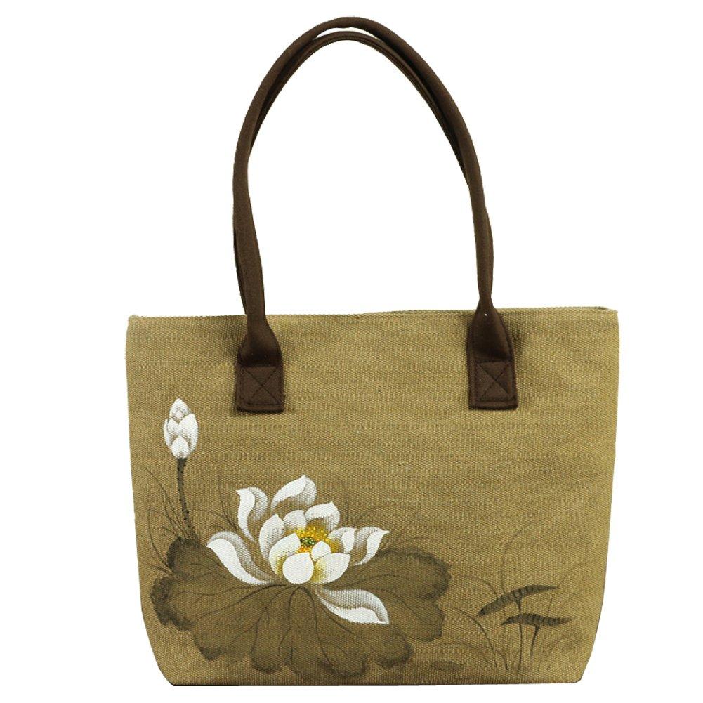 HeySun Women's Lotus Hand-painted Lightweight Shoulder Bag Handbag (khaki-2)