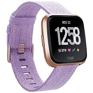 CAVN Correa tejida de repuesto para el reloj inteligente de pulsera Fitbit Versa. Diseño para hombre y mujer, con cierre ajustable de liberación rápida de ...