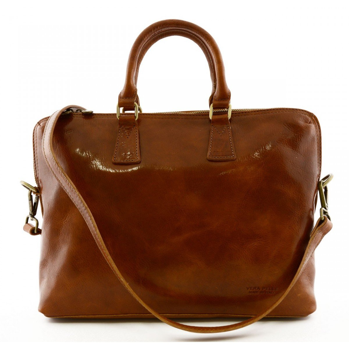 Made In Italy Genuine Leather A4 Document Folder With Removable Strap Color Cognac - Business Bag   B018W38Z2Q
