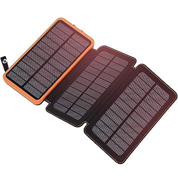 ADDTOP Cargador Solar 24000mAh Power Bank con 3 Paneles solares Portátil Impermeable Batería Externa para iPhone, Huawei, Smartphone Tablet PC: Amazon.es: ...