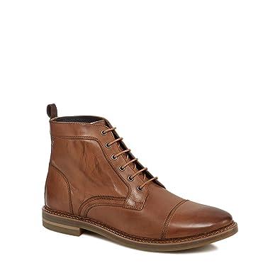 04a5eaa1fb09 Base London Mens Hockney Tan Leather Boots 45 EU  Amazon.fr ...