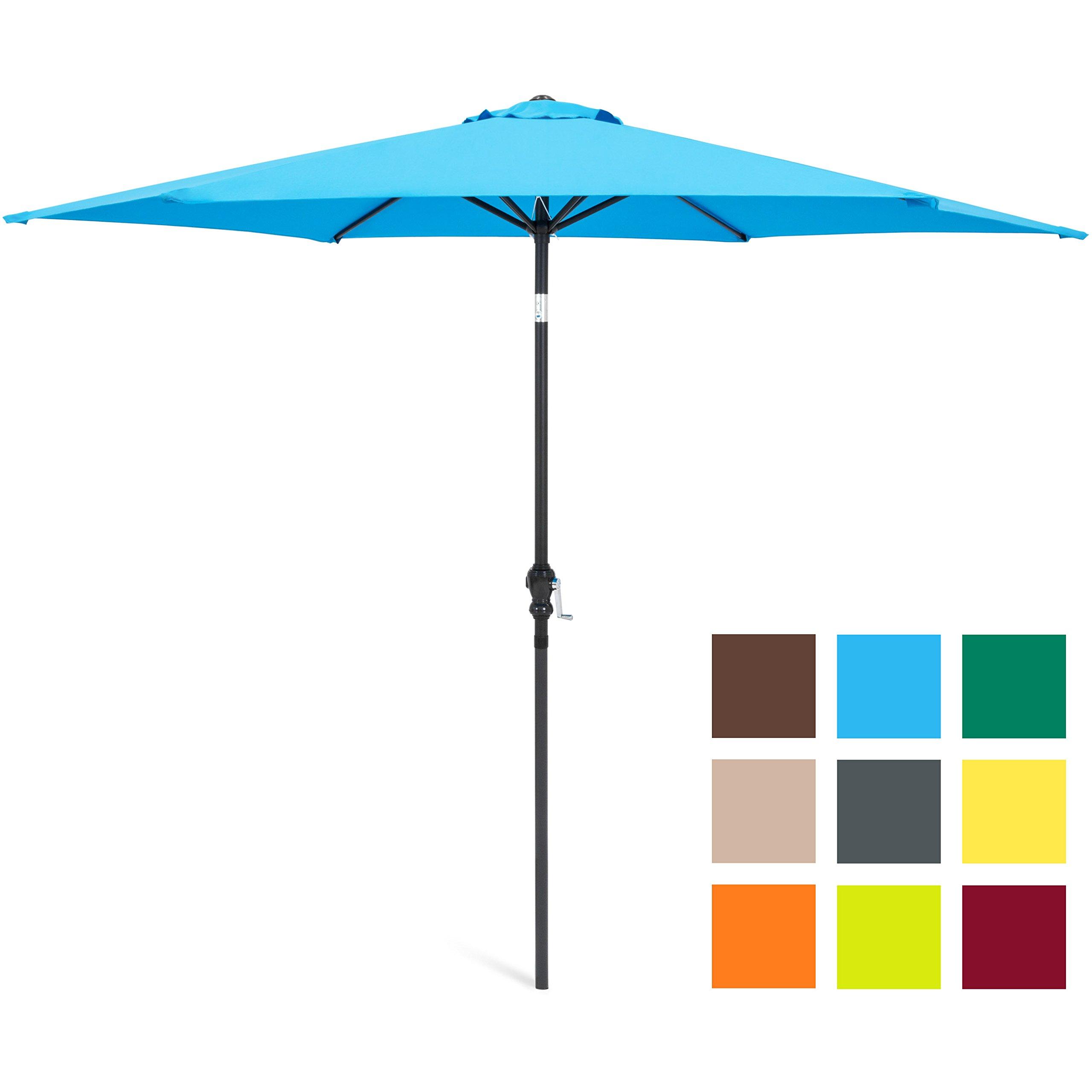 Best Choice Products 10ft Outdoor Steel Market Backyard Garden Patio Umbrella w/Crank, Easy Push Button Tilt, 6 Ribs, Table Compatible - Blue