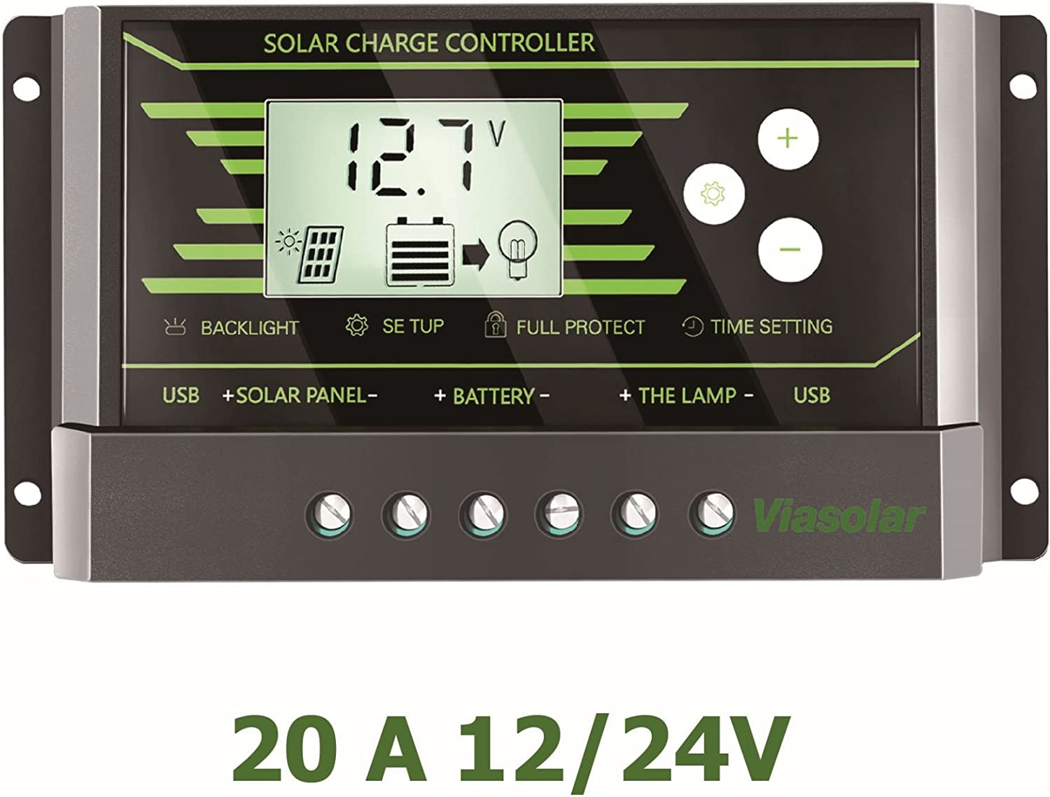 Regulador Solar de 20A 12V/24V con Display y 2 USB LCD VIASOLAR