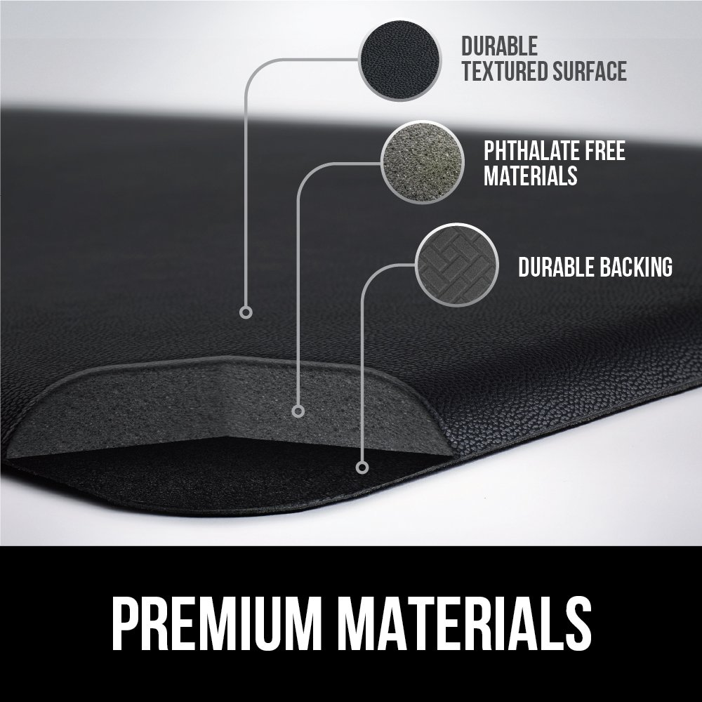 GORILLA GRIP Original 3/4'' Premium Anti-Fatigue Comfort Mat, Phthalate Free, Ships Flat, Ergonomically Engineered, Extra Support and Thick, Kitchen and Office Standing Desk (32x20: Black) by Gorilla Grip (Image #6)