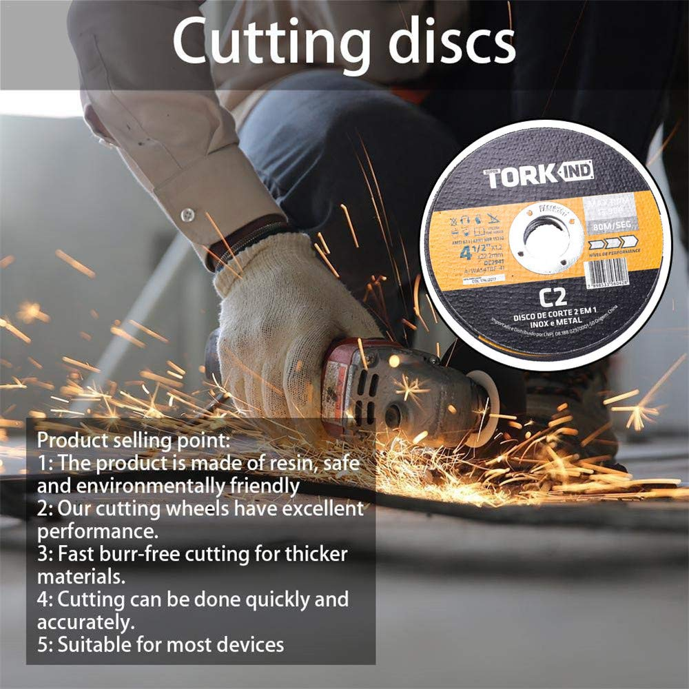 115 x 1,2 x 22 mm, /ángulo de acero de 41//2 Ymayby Juego de discos de corte para amoladora angular o de corte de metal