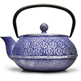 Primula Blue Floral Japanese Tetsubin Cast Iron Teapot Stainless Steel Infuser for Loose Leaf Tea, Durable Construction, Enam