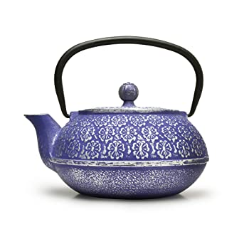 Primula Blue Floral 34oz Cast Iron Teapot
