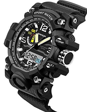 Sanda Digital Sports Watch Mens Gold Outdoor Military Stopwatch Alarm Big Face Black