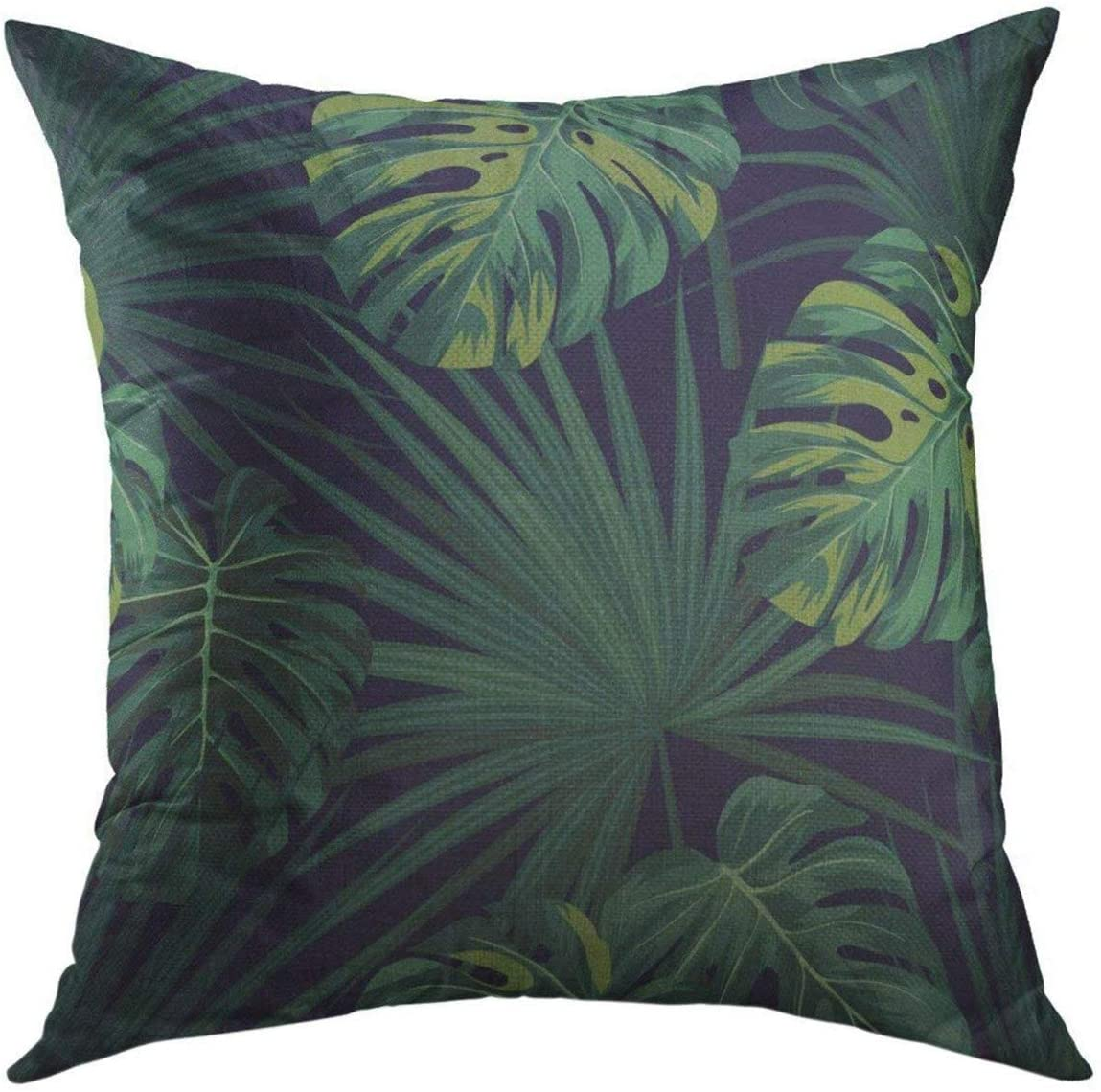 Mugod Decorative Throw Pillow Cover for Couch Sofa,Black Leaf Dark Tropical with Jungle Plants Pattern with Green Sabal Palm Monstera Leaves Floral Home Decor Pillow case 18x18 Inch