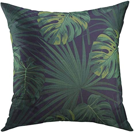 Amazon Com Mugod Decorative Throw Pillow Cover For Couch Sofa Black Leaf Dark Tropical With Jungle Plants Pattern With Green Sabal Palm Monstera Leaves Floral Home Decor Pillow Case 18x18 Inch Home Kitchen