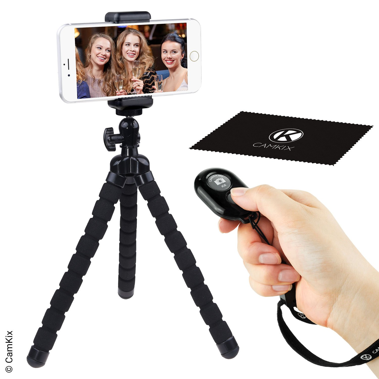 Flexible Cell Phone Tripod and Wireless Remote Control Camera Shutter - for iPhone, Samsung Galaxy and many more - Octopus Style Mount - Universal Phone Holder - Solution for Smartphone Photography