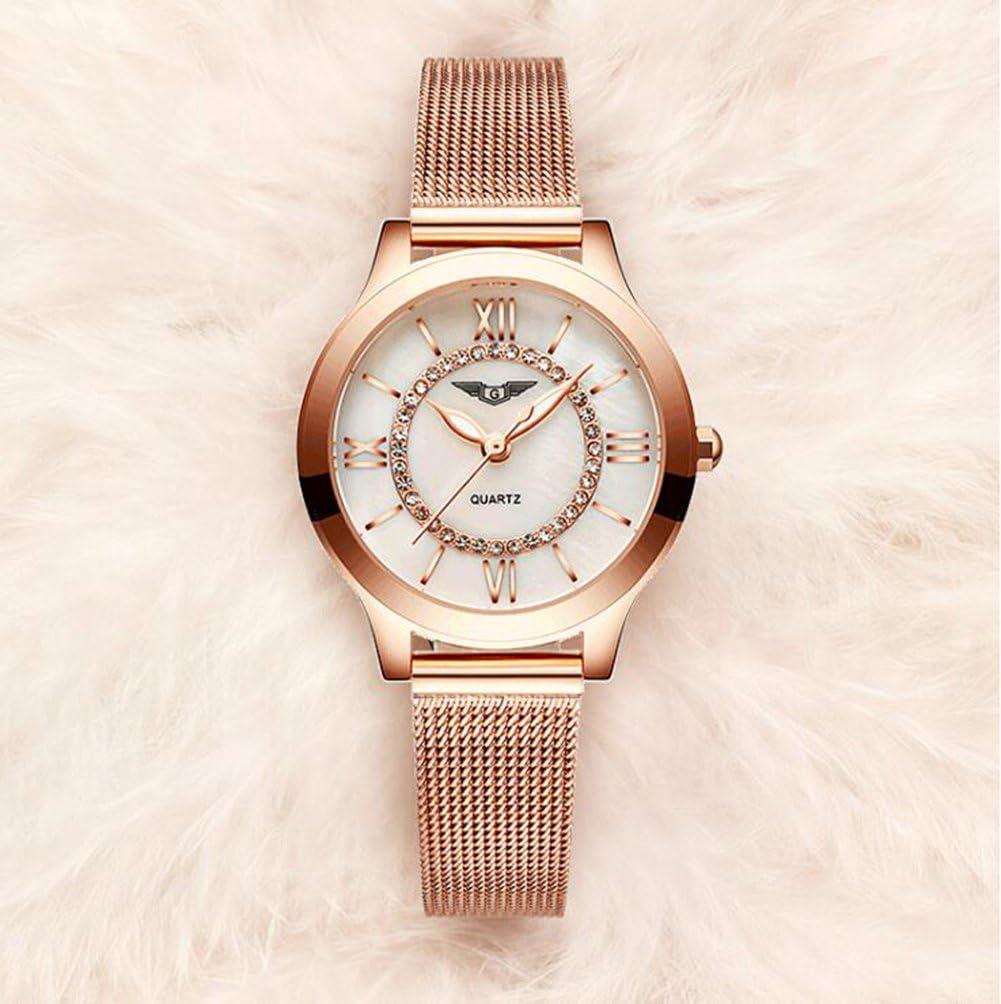 SW Watches Damenuhren, Fashion Luxury Brand Damenarmband-Armbanduhr Mit Leuchtendem Rhinestone, Edelstahl-Maschengürtel-Quarz-Uhren Für Mädchen A