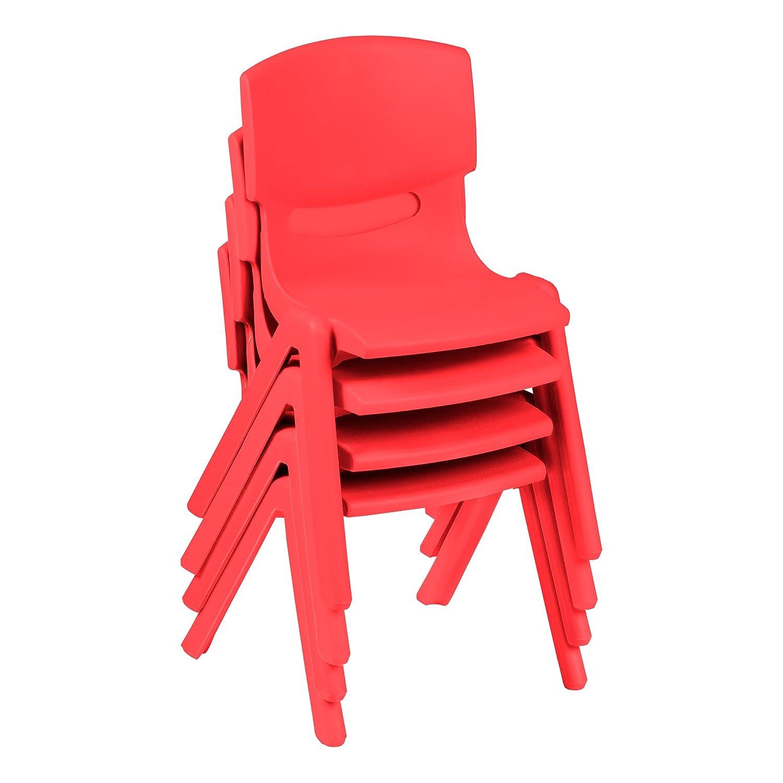 sprogs spg-iac1000rd-so preescolar de pl/ástico rojo Pack de 4 9/1//2/Altura del asiento silla apilable