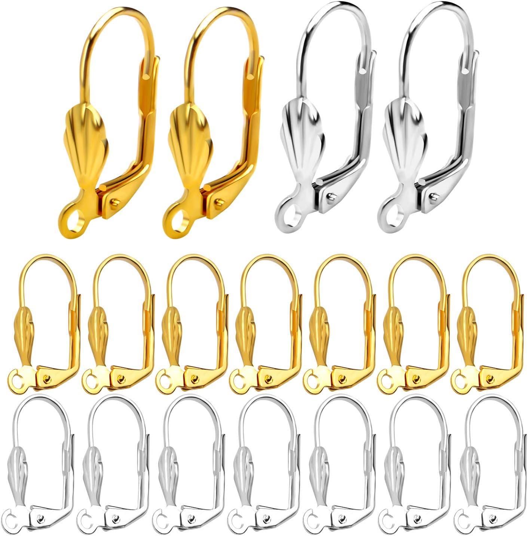 Klappbrisur Ohrringe Muschel Ohrhaken Ohrh/änger Ohr-Verschluss Klappb/ügel mit /Öse zum Ohrringe selber gestalten 100 STK Aylifu Klapp Brisuren