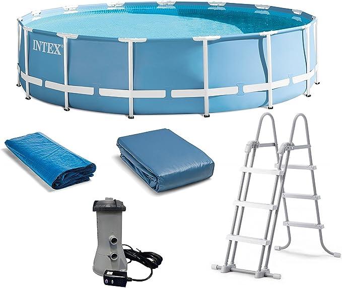 Intex - Piscina redonda con bomba de filtro, escalera de seguridad, cubierta para suelo y piscina, modelo 2018, con enchufe de 3 pines: Amazon.es: Jardín