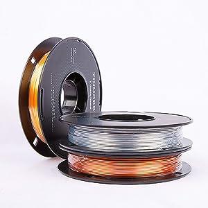 PLA Filament 1,75 mm, TINMORRY Imprimante 3D Filament, Matériaux d'impression 3D, 1 kg 2 bobines, Or + Copper