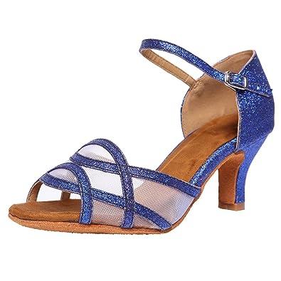 Akanu Women's Latin Dance Shoes Female's Ballroom Salsa Dance Shoes(B-Style  Blue Size