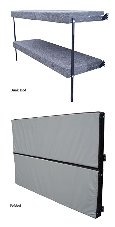 RB Components Folding Bunk Bed, 76 Inch, Black Vinyl