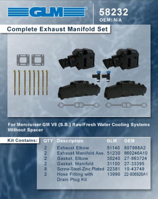 MERCRUISER COMPLETE EXHAUST MANIFOLD SET 5.7L & 5.0L (CAST IRON) | GLM Part Number: 58232