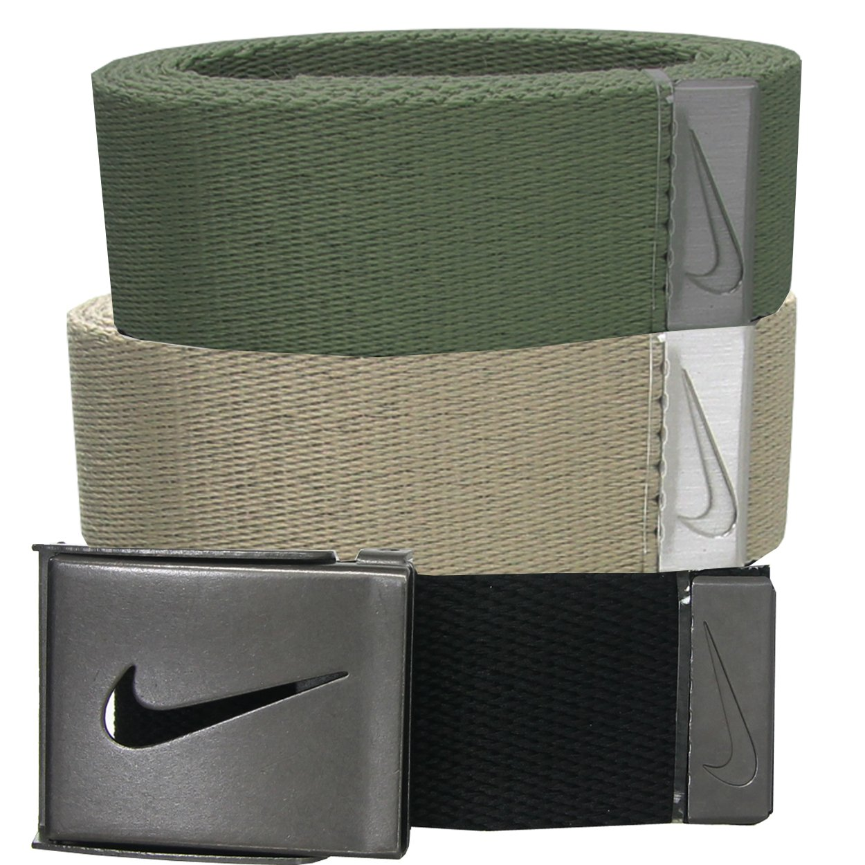 Nike Men's 3 Pack Web Belt, Black/Cargo Khaki, One Size
