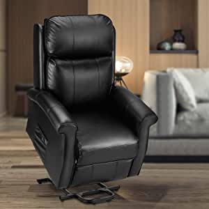 Amazon Com Esright Electric Power Lift Recliner Chair Faux Leather Electric Recliner For Elderly With Heated Vibration Massage Side Pocket Remote Control Black Furniture Decor