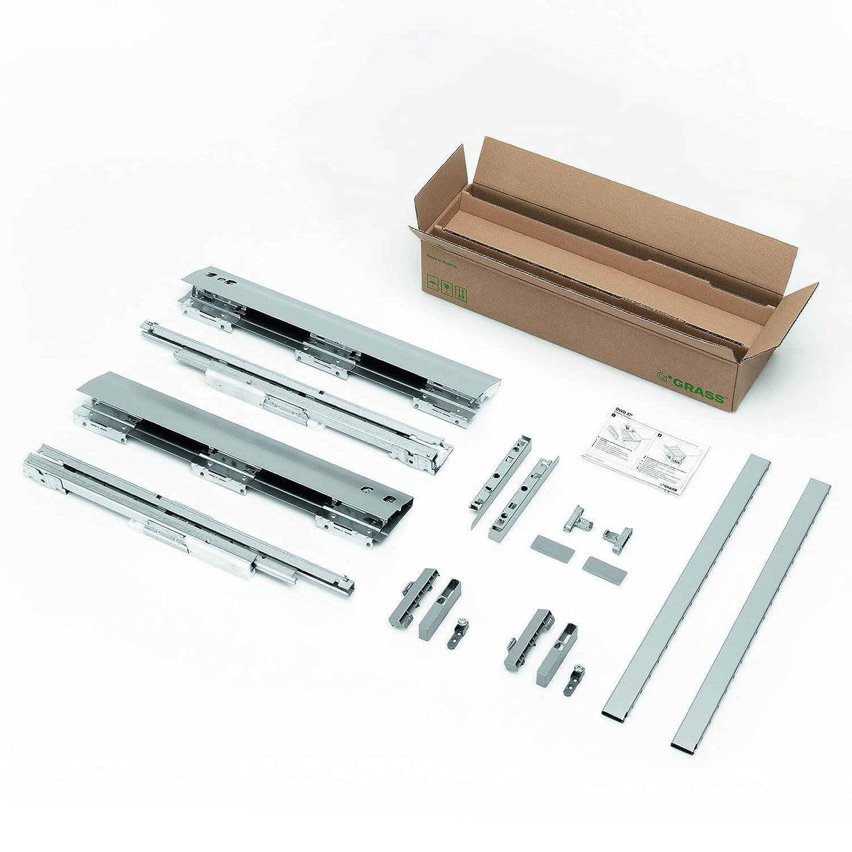 GRASS DWD-XP Frontauszug H95 / 40 kg/Nennlä nge 450 mm/grau mit Rechteckreling und SoftClose Schubladenauszug Schublade Schubladensystem SOTECH