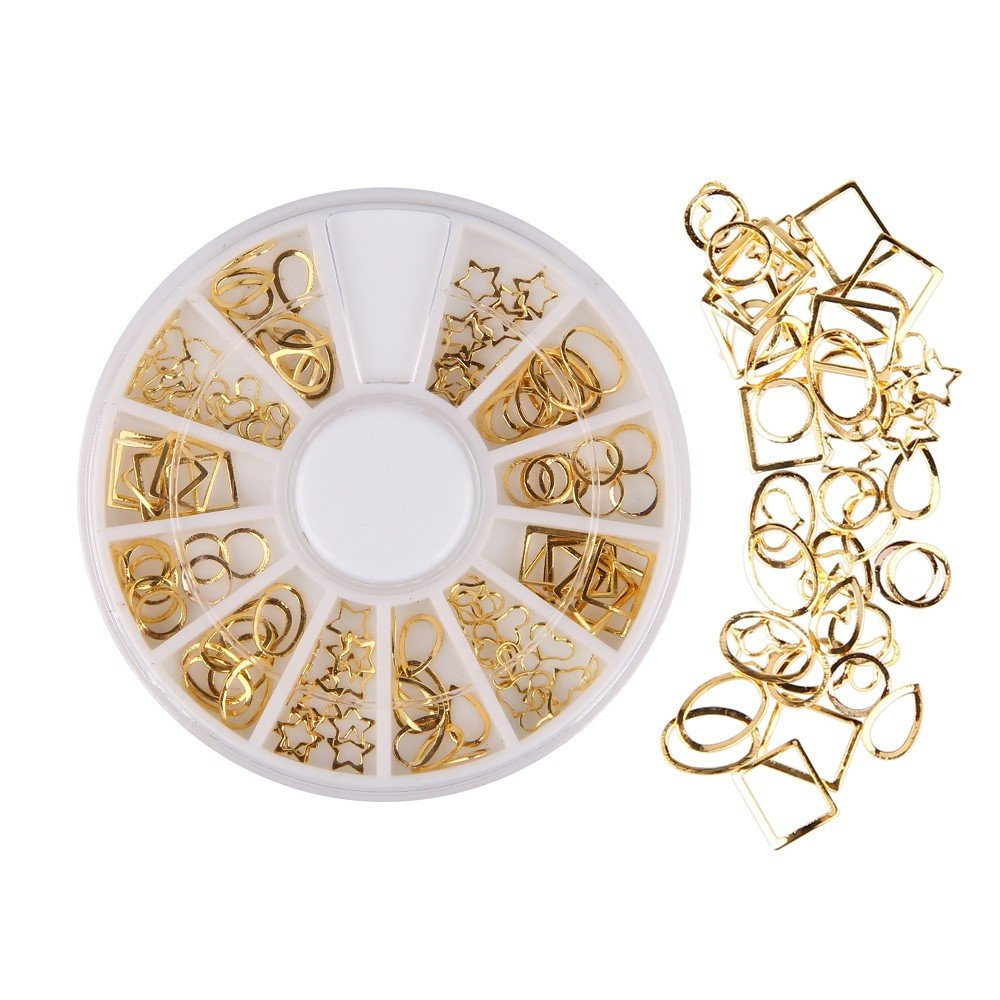 Beauty7 300 PCS 3D Nail Art Decorations Wheel With Gold Metal Studs Shape In rectangle, triangle, oval, and square