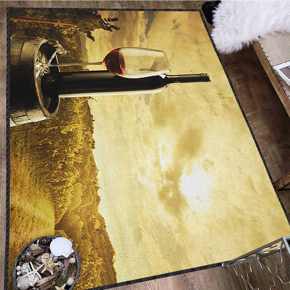 Wine Modern Area Rug with Non-Skid,Red Wine Bottle and Glass on Wooden Barrel Dramatic Sky Agriculture Decor Carpet Popular Colors Pale Coffee Green Black 63''x94'' by Philip C. Williams