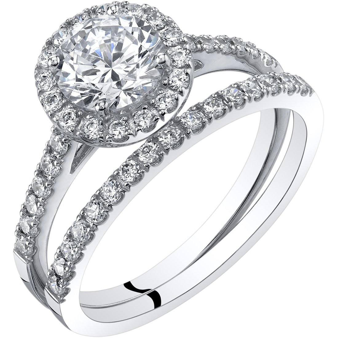 14K White Gold Halo Engagament Ring and Wedding Band Bridal Set Size 6.5 by Peora