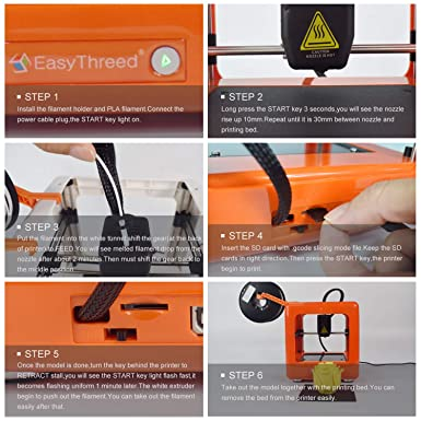 Easythreed Mini 3D Printer DIY Tools with Slicing Software,Removable Building Platform for Kids Portable Affordable Best Gift,Orange for Education Personal Consumer 3D Printer Set