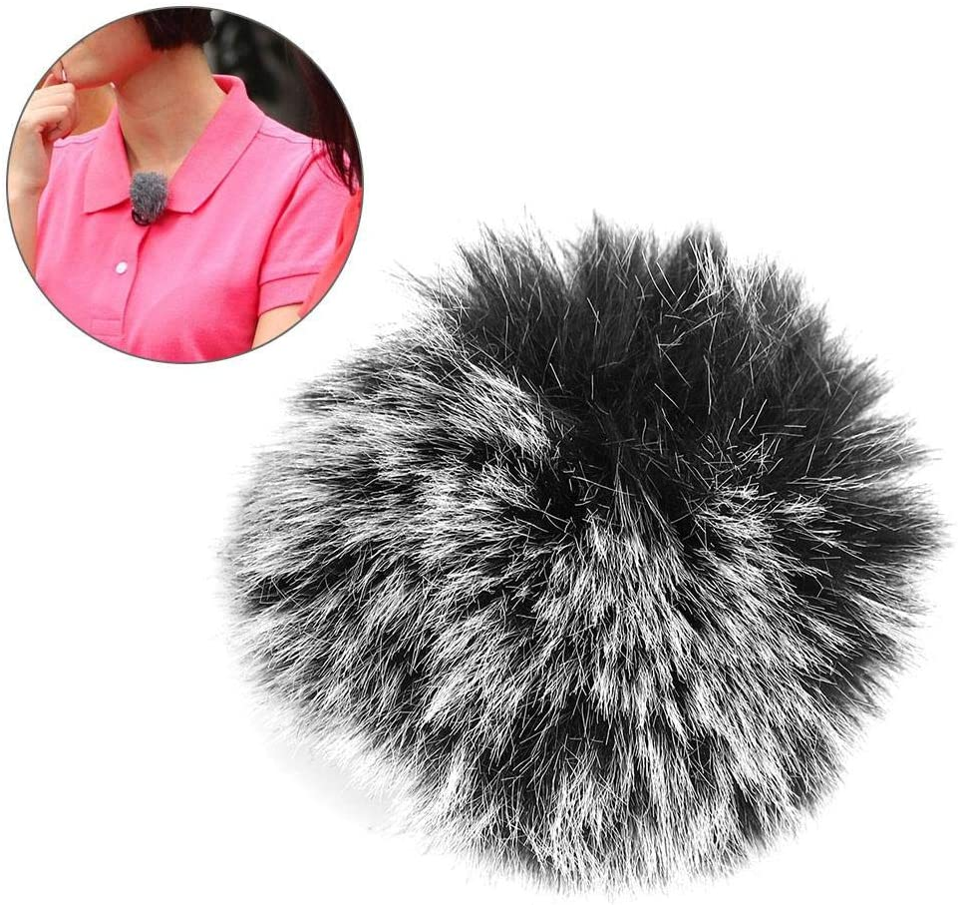 Akozon Lapel Lavalier Microphone Furry Cover Windscreen Windshield Muff Fur for Microphone Wm6 WM8 M1