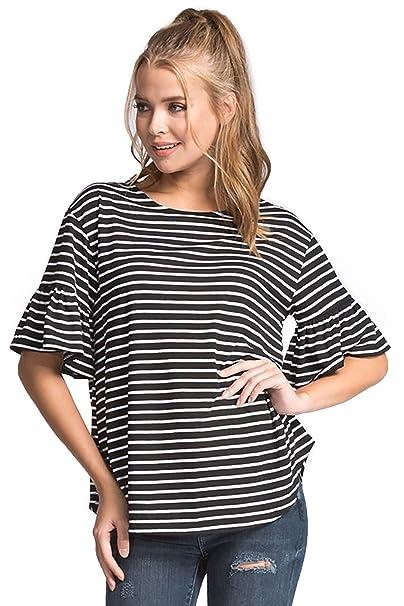 496173c475 Shopglamla Stripe Loose Fit Round Neck Elbow Length Ruffle Sleeves Blouse  Top. Black/White