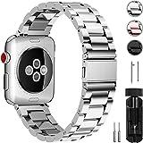 Fullmosa Compatibile Cinturino per Apple Watch 38mm/40mm e 42mm/44mm,3 Colori Cinturino per iWatch in Acciaio Inossidabile,Cinturino per Apple Watch Series1, 2, 3,4, Uomo e Donna, 38mm/40mm Argento