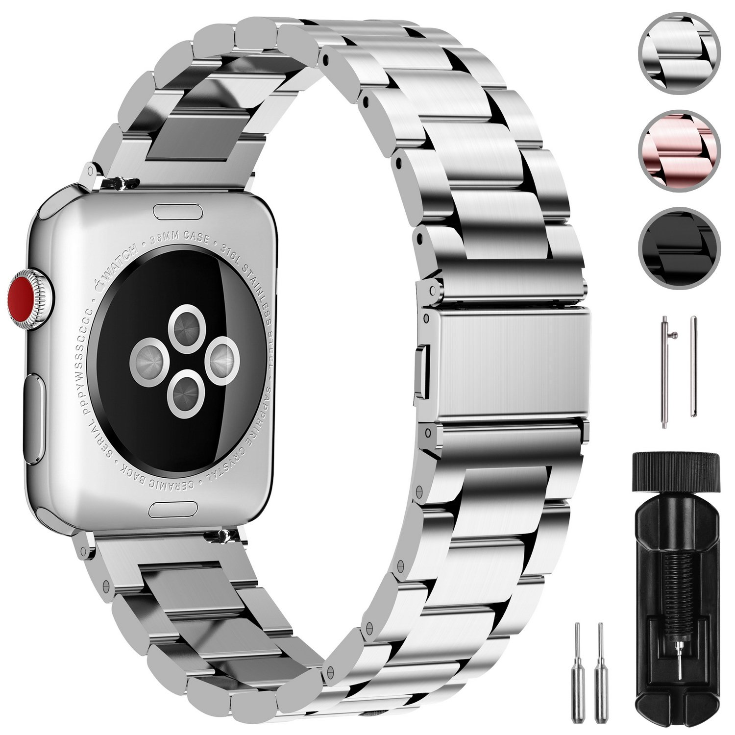 Fullmosa Acero Inoxidable Correa Compatible Apple Watch/iWatch Serie 3, Serie 2, Serie 1, Apple Watch Correa 38mm 42mm, Plata 38mm