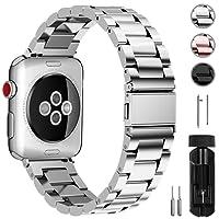Fullmosa compatibile cinturino per Apple Watch 42mm e 38mm,3 Colori cinturino per iWatch in Acciaio Inossidabile,Cinturino per Apple Watch Series1, 2, 3, 38mm Argento